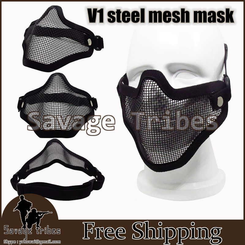 Tactical Hunting Metal Mesh Half Face Mask war game Paintball Resistant BB mask airsoft safety equipment Black - Savage Tribes store