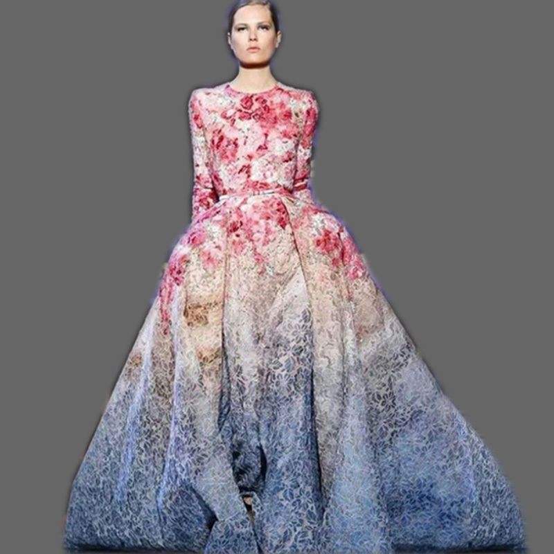 HIGH QUALITY New 2015 Runway Maxi Dress Women's Long Sleeve Sweet Floral Printed Celebrity Party Ball Gown Long Dress(China (Mainland))