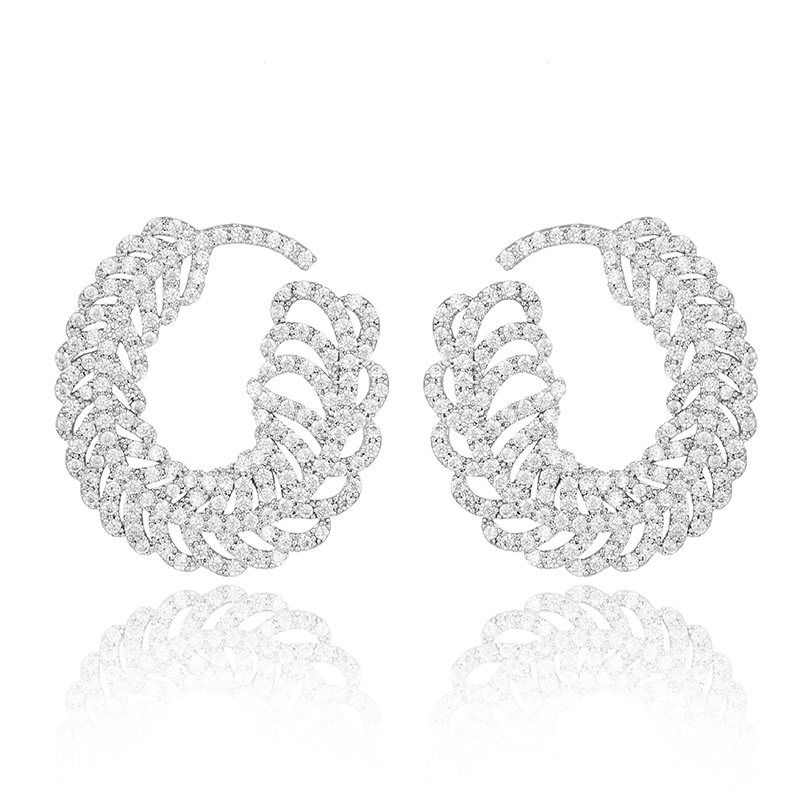 Silver-Tone Prong Austrian Crystal Cubic Zirconia Elegant Big Feather Twisted Round Stud Earrings For Women(China (Mainland))