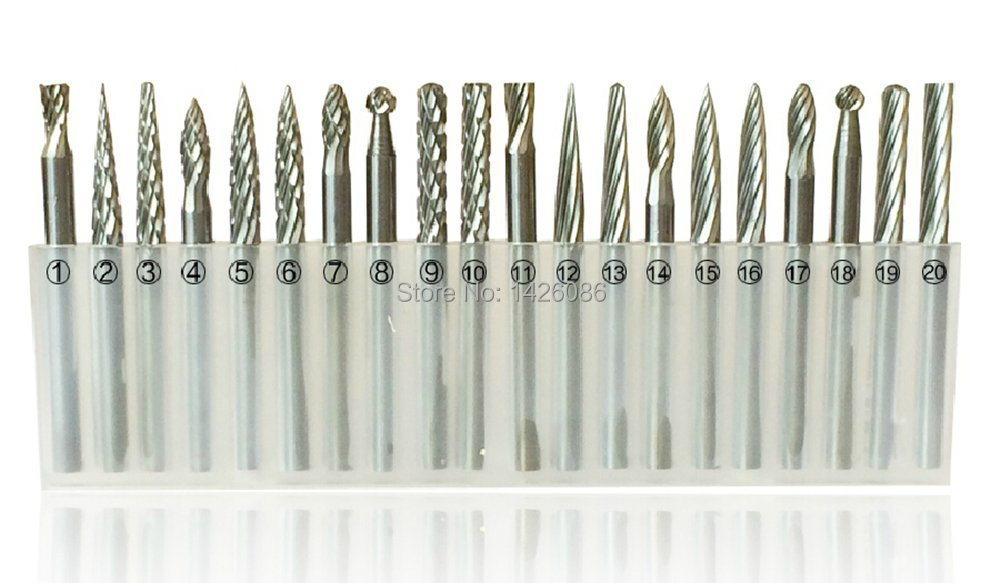 20pcs 3mm Shank Tungsten Steel Solid Carbide Rotary Files Diamond Burrs Set Fits Dremel Tool for Woodworking Carving Engraving(China (Mainland))