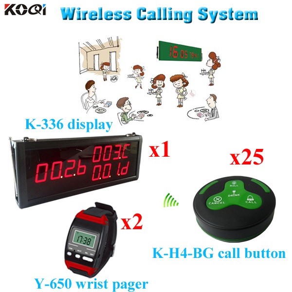 Wireless Call Bell System Wireless Call Button Pager Service For Restaurant(1 display 2 wrist watch 25 call button)(China (Mainland))