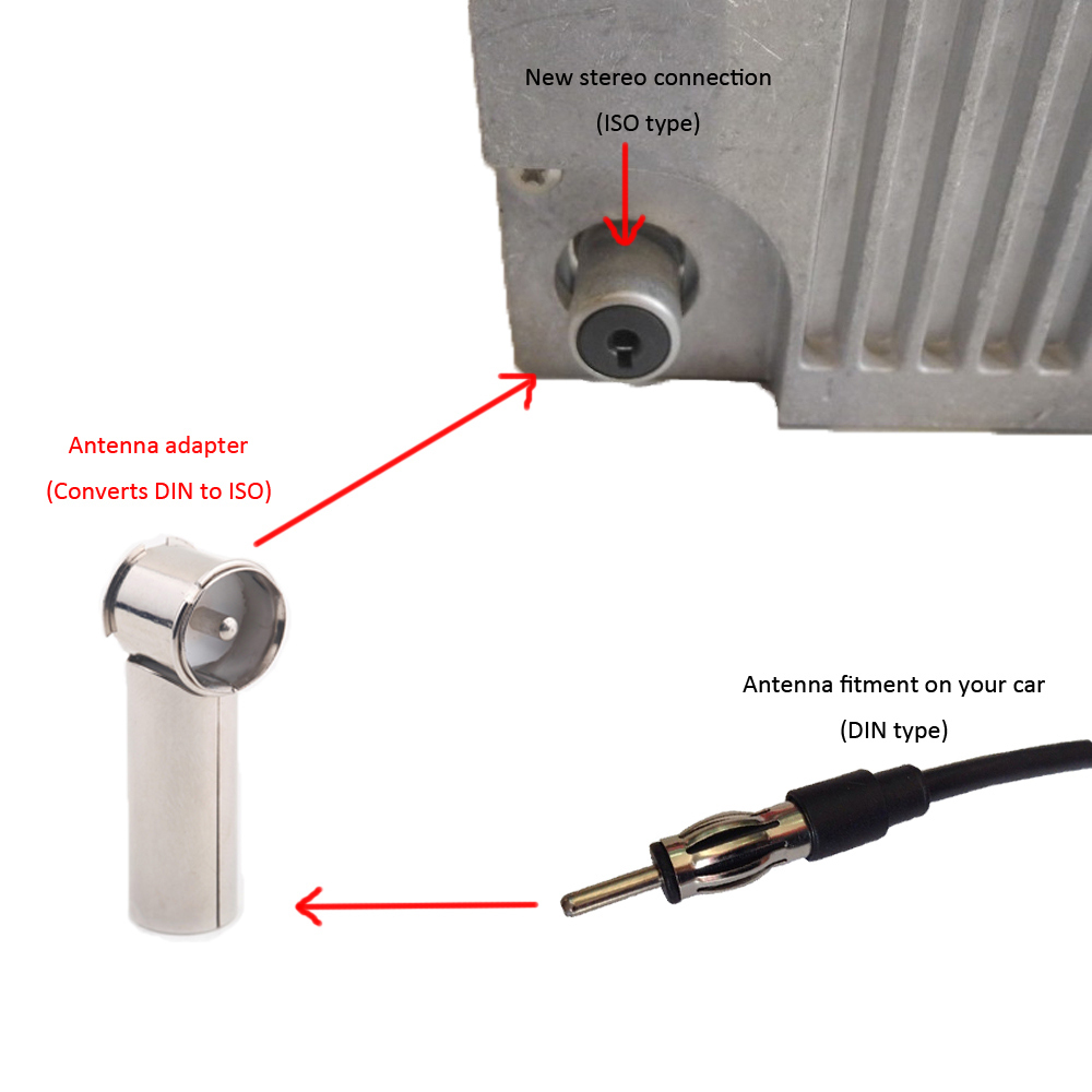 Car Radio Connector Stereo Antenna Adapter Aerial Connector DIN to ISO Bare Metal Body FM/AM Radio(China (Mainland))