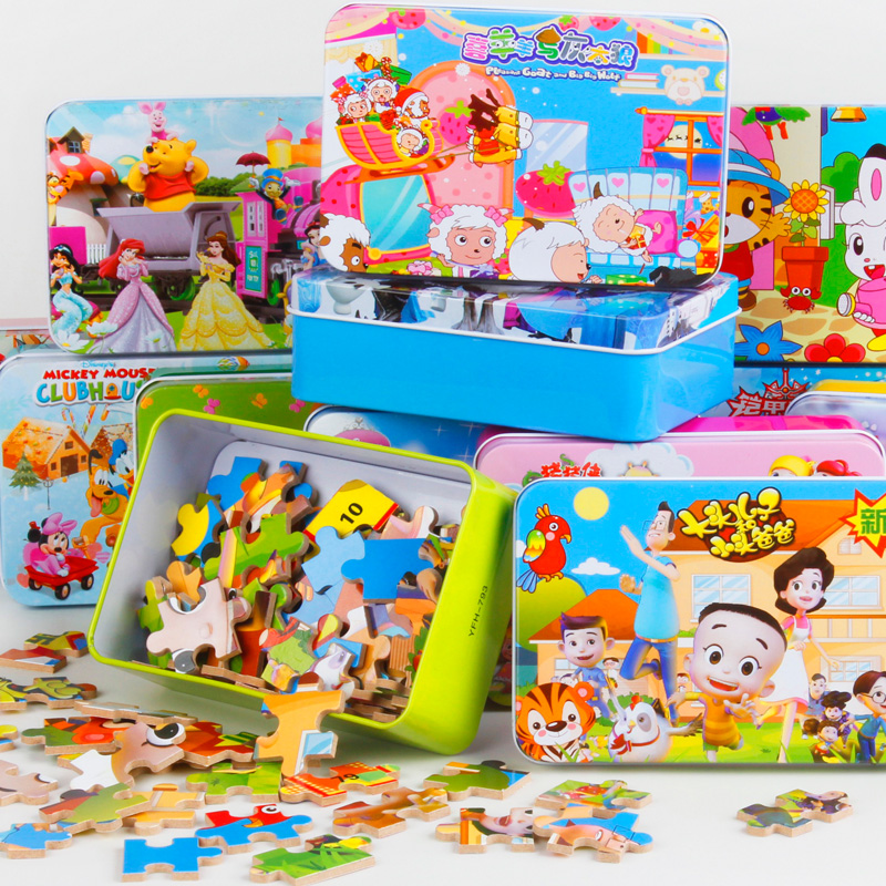 60 pcs/set Iron Box Cartoon Wooden Puzzles for Children,Kids Toddler Early Educational Jigsaw Toys Free Shipping JM91102(China (Mainland))