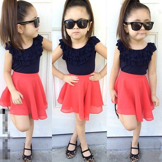 Hot Baby Girls Summer Chiffon Clothes Sets Fold Lace Navy