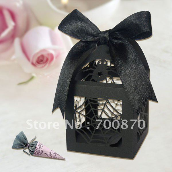 """Halloween decorations FB1003-01 12pcs/set 2""""*2""""*3"""" Laser Cut Spider Favor box(Color can be customized)(China (Mainland))"""