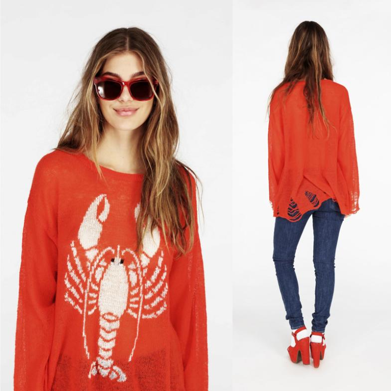 2014 newest Hot wildfox hole early spring models wildfox holeLobster hole sweater ladies sweater knit sweater,free shipping(China (Mainland))