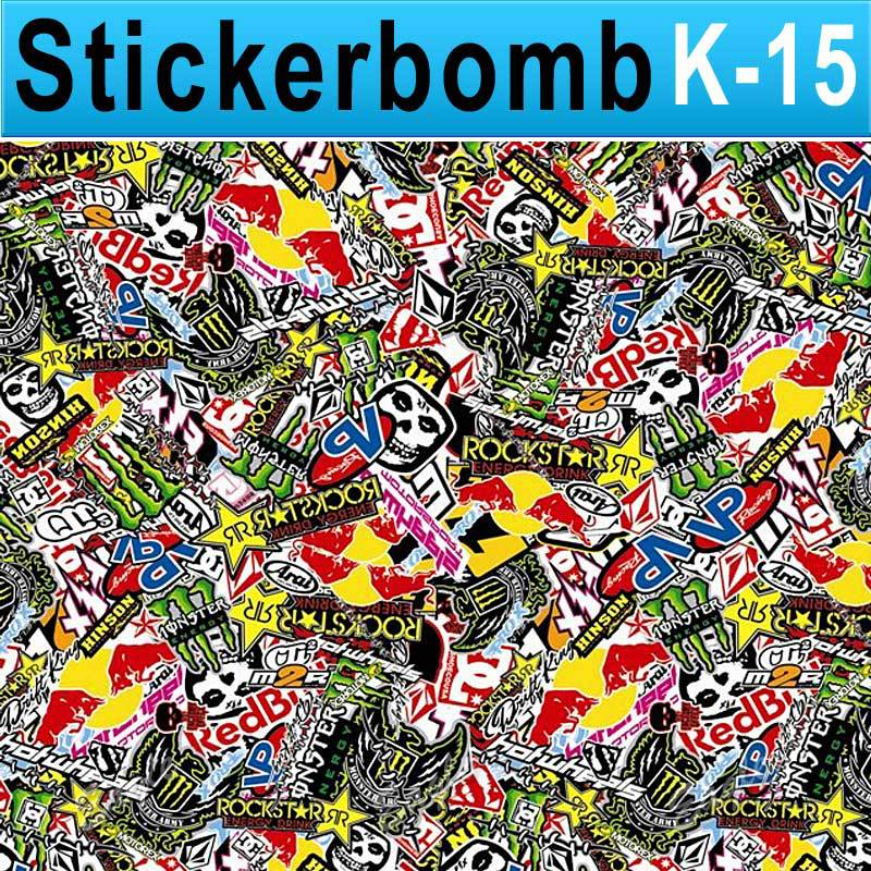 Stickerbomb Vinyl Wrapping Car Sheet Film energy drink Design / Best Non-Pixelated print / Size: 1.5 x 30 Meter / k-15(China (Mainland))