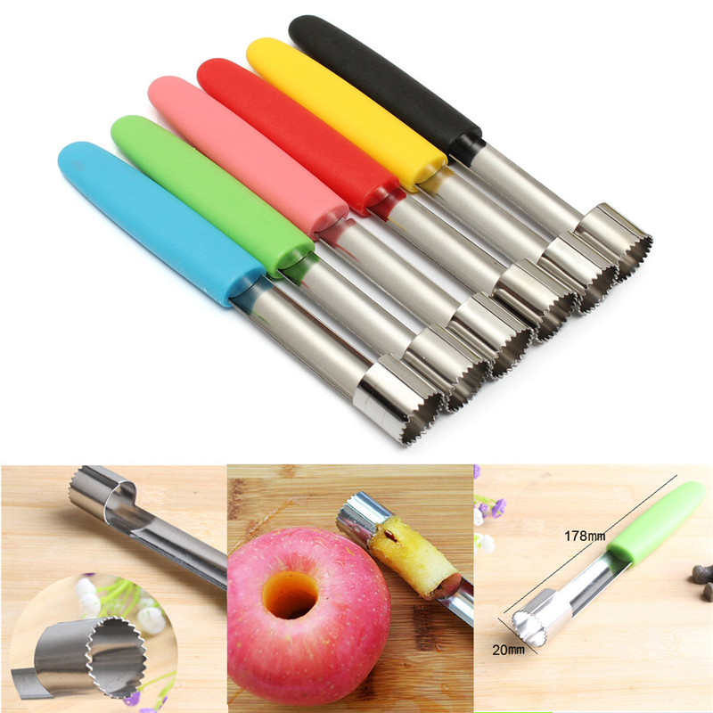 Stainless Steel Fruit Core Seed Remover for Apple Pear Corer Slicer Kitchen Tool Blue Green Pink Red Yellow Black Kitchen Tool(China (Mainland))