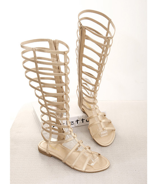 2015 Hot Sexy Womens Sandals Fashion Cutout Flat Heel Gladiator Sandals Gold And Black Designer Women Shoes <br><br>Aliexpress