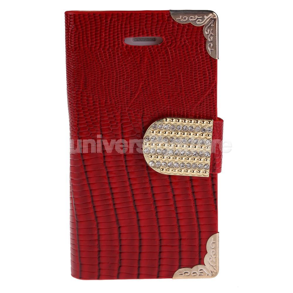 Luxury Synthetic Leather Wallet Flip Cover Bling Cell Case for iPhone 4G Red CA1T(China (Mainland))