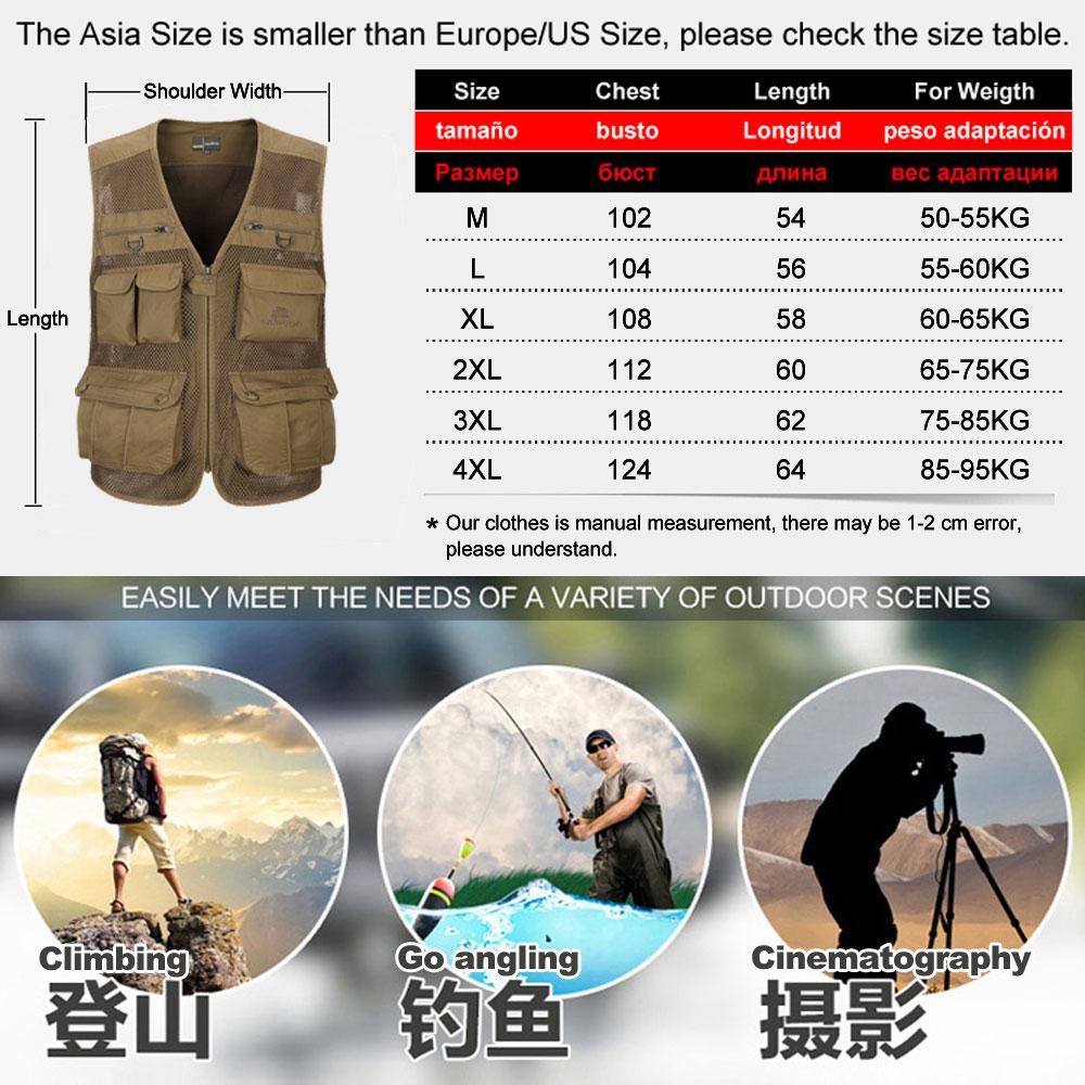 2016 осень Мужская фотограф жилет мульти-карманы сетка жилетки Пальто стрельба пешеходные путешествия жилет без рукавов куртка m-4xl