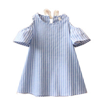 New girls dress 100% cotton striped vestido infantil toddler kids outfit summer children clothing baby girl clothes dresses(China (Mainland))