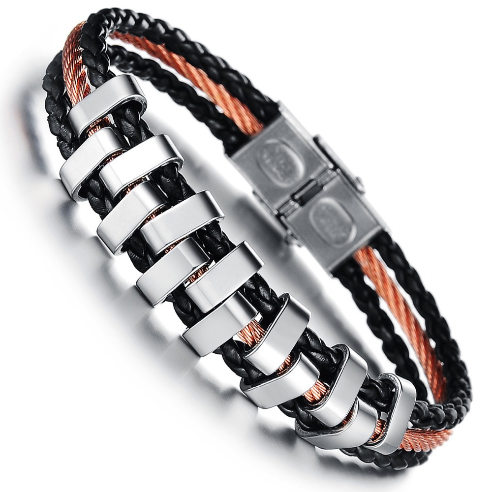 Wholesale 2014 NEW Fashion jewelry Punk Rose Gold Stainless Steel Black Weave Genuine PU leather Men