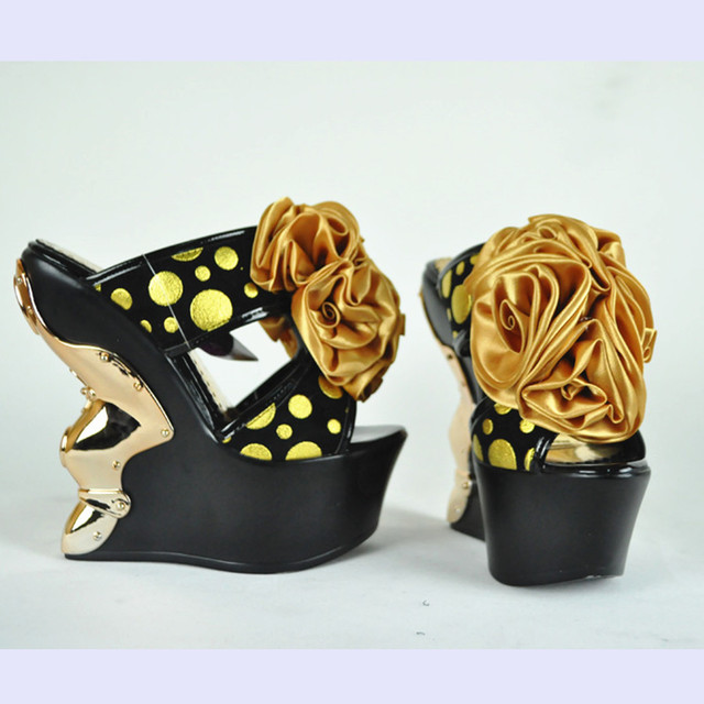 Seismogenic king 2013 polka dot flower ultra high heels slippers platform wedges t metal 16cm