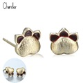 2017 New Arrival Pure Silver Stud Earrings drawing process Gold Exquisite Cute Dog Paw Studs Lovely