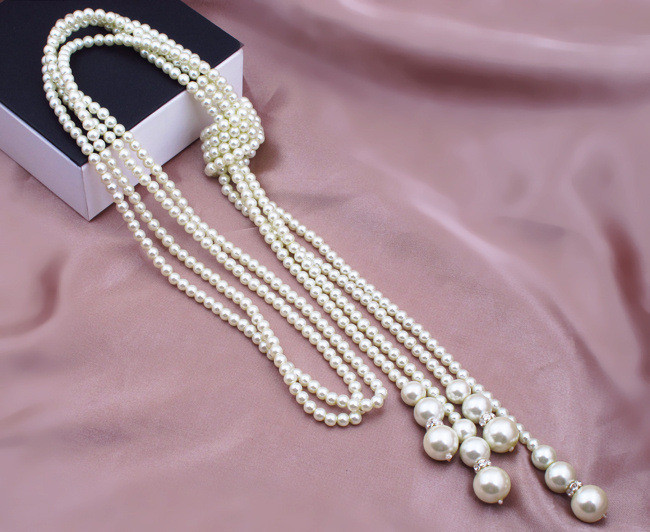 2015 Brand New Designer Classcial  Layers Statement Fashion White Charms Artificial Chain Long Pearls Necklace(China (Mainland))