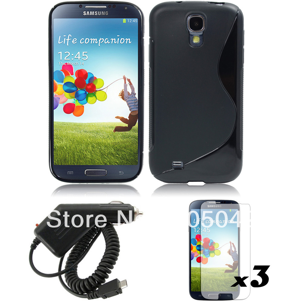 GEL TPU RUBBER CASE COVER skin +screen protector +car charger for Samsung Galaxy S4 IV i9500(China (Mainland))