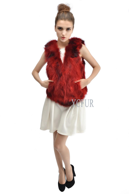 New Style Women Fur Jackets Winter Natural Raccoon Fur Vests Warm Winter Real Fur Waistcoat Female Short Design YC1074