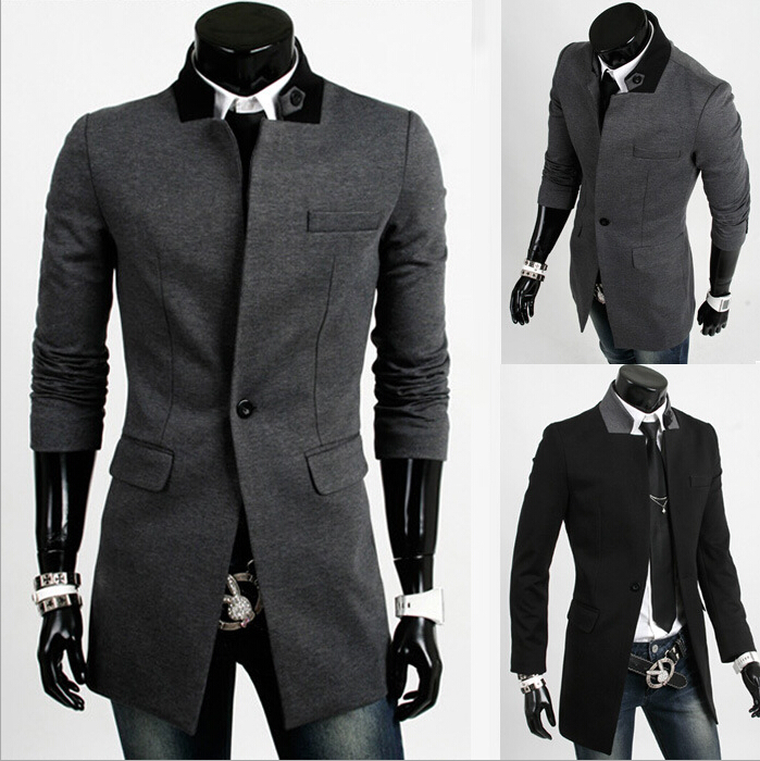 Mens Short Trench Coat 2015 New Fashion Windproof Single Button Slim Fit Trench Coat Men Winter Jacket Wool&blends ,gmtr017(China (Mainland))