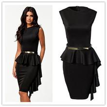 vestido de renda curto Black One-Side Draped Stylish Peplum Dress big size new fashion style sexy summer On formal occasions