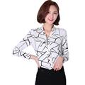 Large Sizes Casual Women Summer Chiffon Blouses Shirts Ladies Nine Quarter Sleeve V neck Plaid Blouse