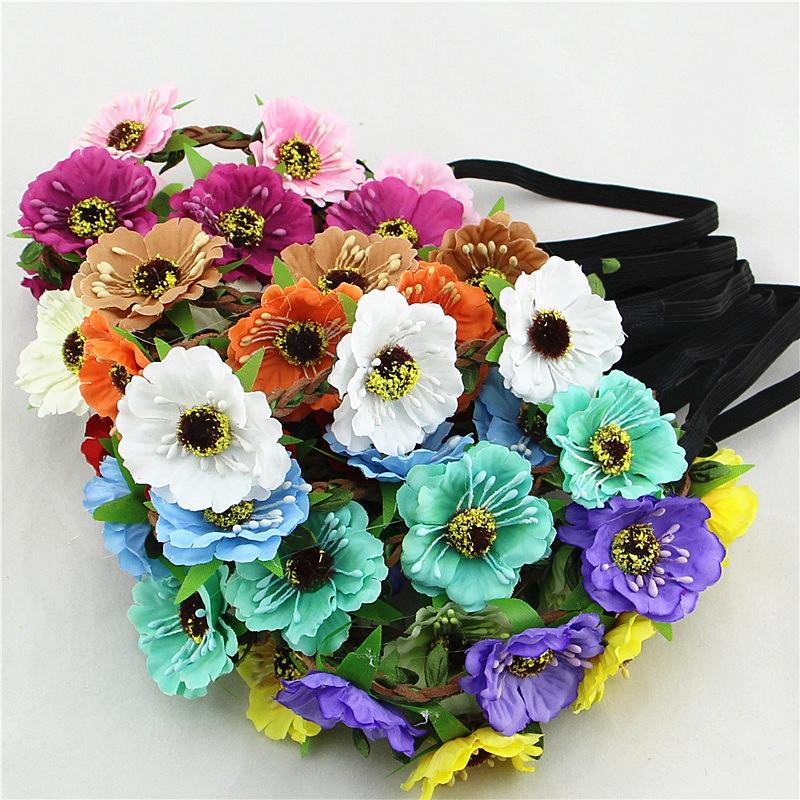 4.5cm cherry hair accessories headbands bohemian beach sand flower hair band bridal wreath wholesale(China (Mainland))