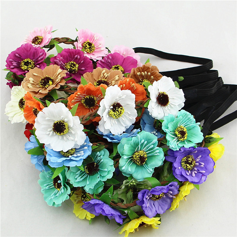 4.5cm cherry hair accessories headbands bohemian beach sand flower hair band bridal wreath wholesale(China (Mainland))