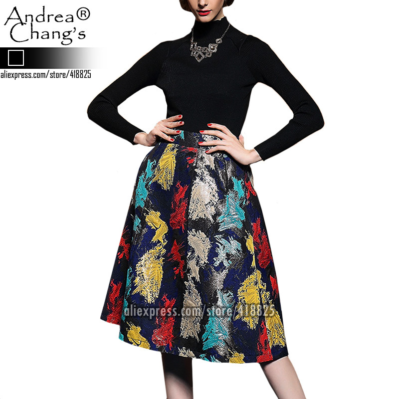 2014 autumn winter designer women's set skirt suit black knitted top red blue yellow abstract pattern skirt fashion brand set(China (Mainland))