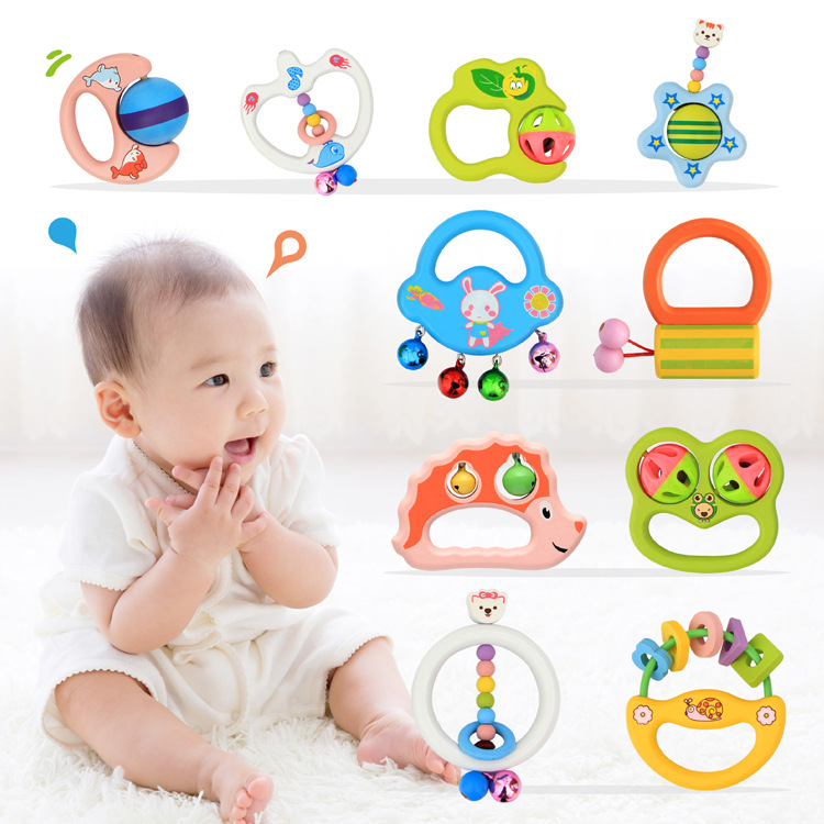 Baby Toys 10Style Cartoon Wooden Baby Rattles Handbell Musical Educational Rattle Classic Toy For Baby Intelligence Development(China (Mainland))
