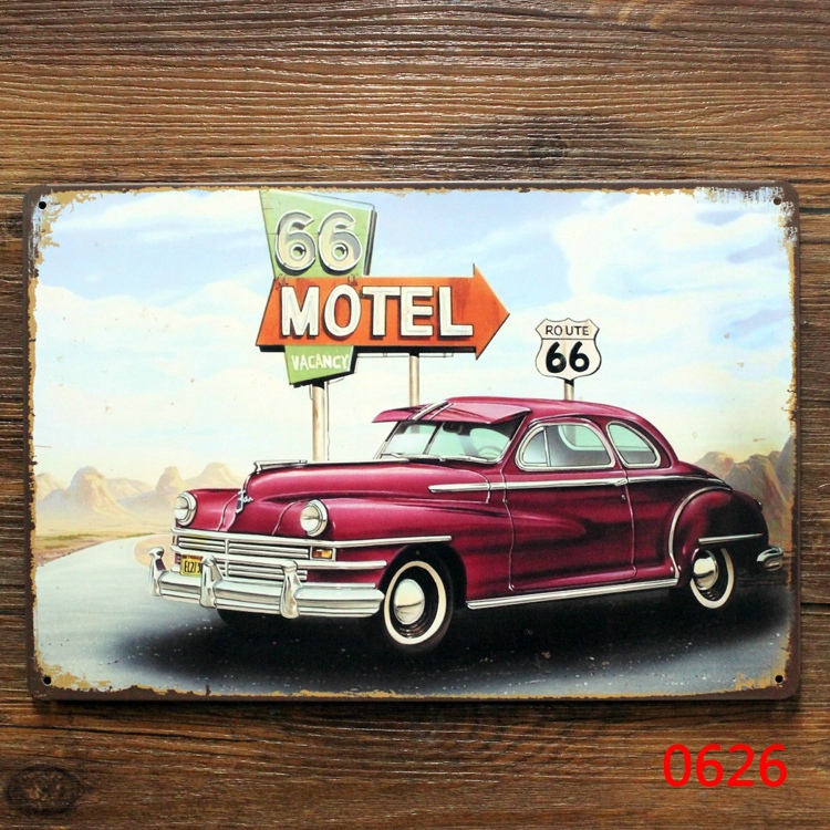 Route 66 motel. signs vintage metal tin plate wall decoration for home bar cafe garage and so on(China (Mainland))