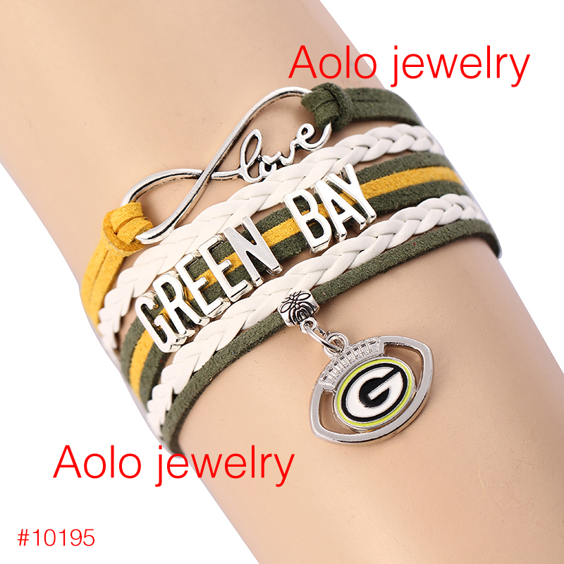 6Pcs/Lot NFL FREE SHIPPING Infinity Love NFL Green Bay Packers Football Team Bracelet green yellow #1200(China (Mainland))