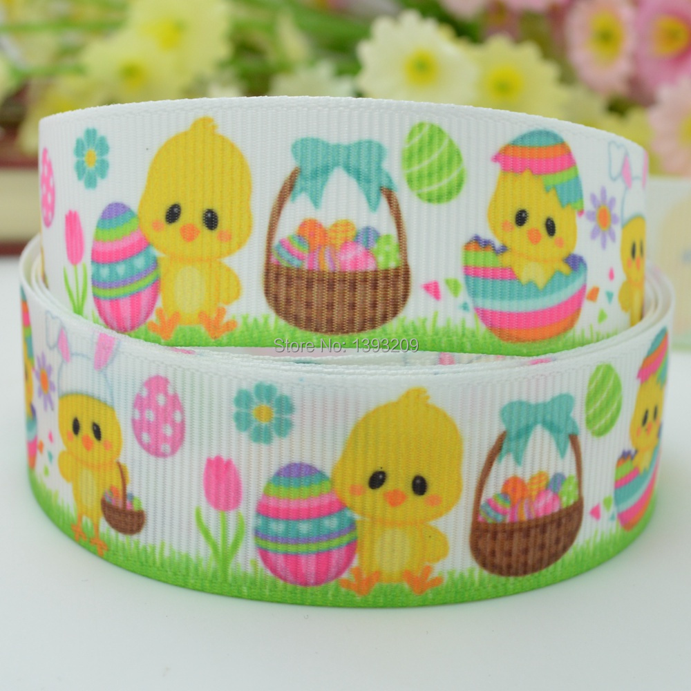 """Free shipping 7/8"""" 22mm Easter chick Printed grosgrain ribbon hairbow DIY handmade wholesale OEM 50YD(China (Mainland))"""