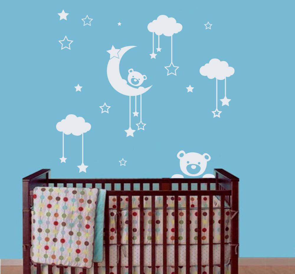 Vinyl wall decal sticker for kids nursery bedroom teddy bear moon home decor art murals in wall