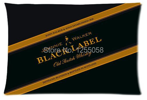 Designer Johnnie Walker Black Label Pillow Case Cover 20X30 Inch Rectangle Pillowcases(China (Mainland))