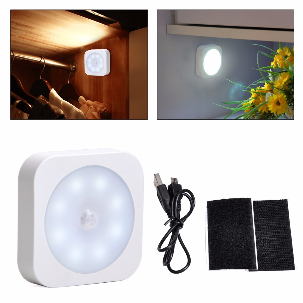Free Shipping & Tracking Brand New Mini 8 LED Ultra Bright Wireless PIR Interaction Sensor Motion Detector Light with USB cable(China (Mainland))