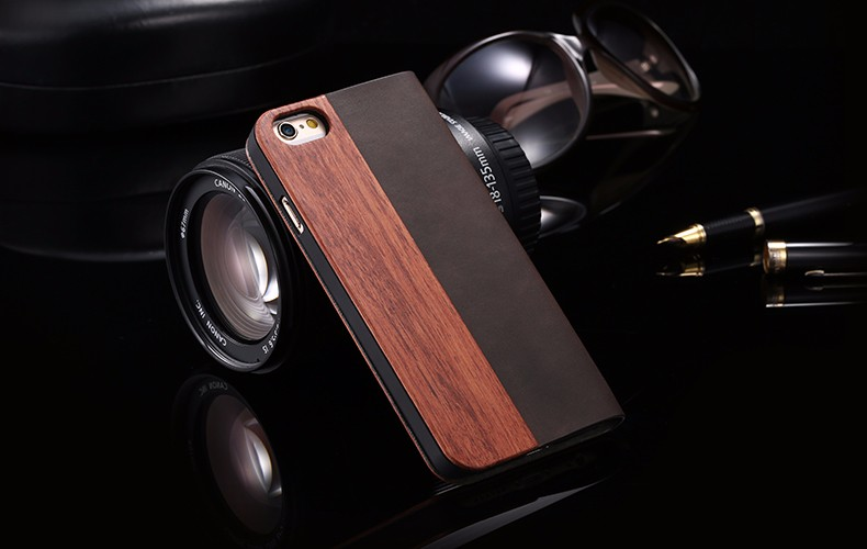 Vintage Genuine Bamboo Wood Flip Leathe Case For iPhone 6 6S Plus Real Rosewood Wooden Wallet Cover For iPhone 7 7 Plus Card Slot  (14)