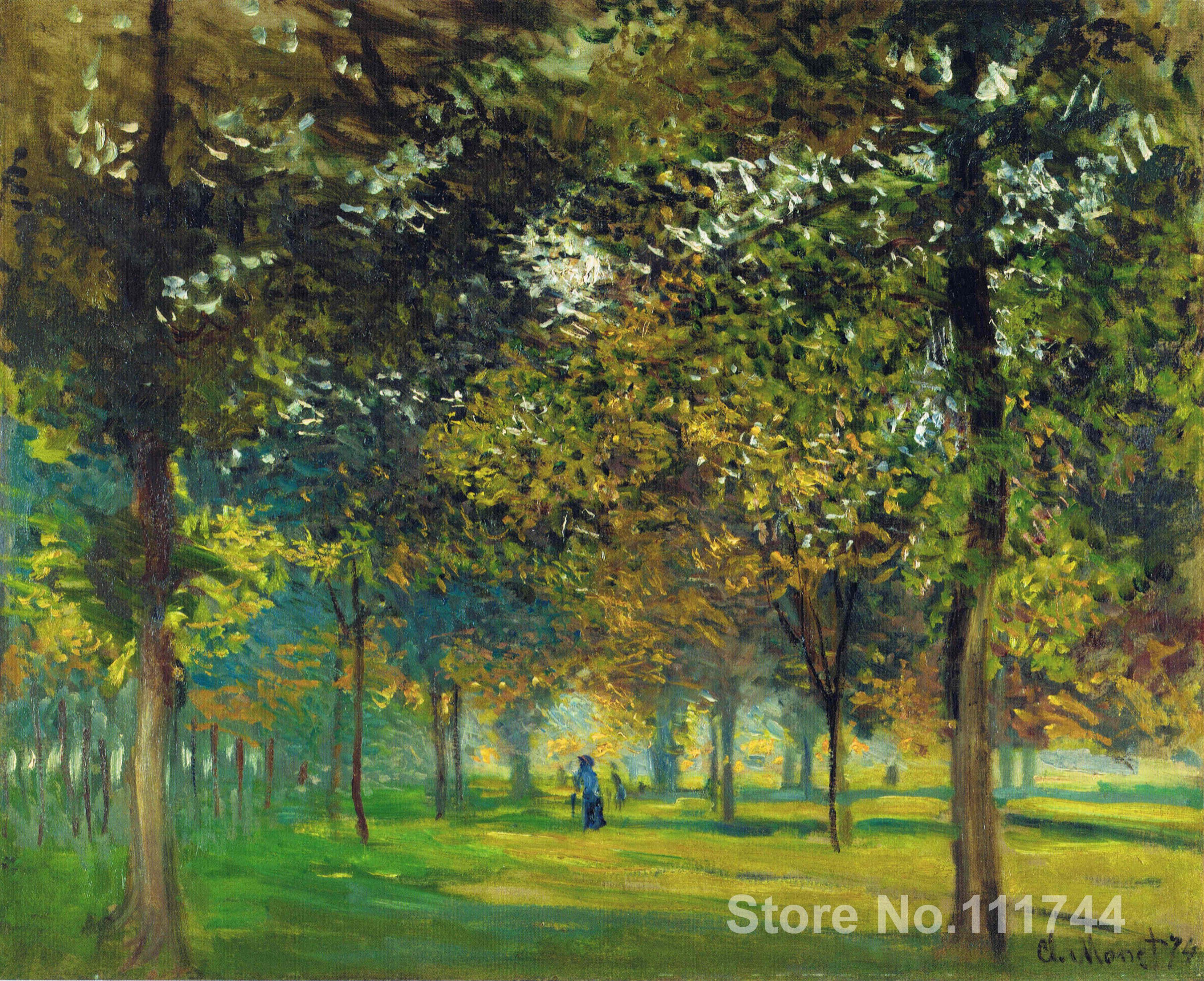 impressionist art,The Allee du Champ de Foire at Argenteuil-Claude Monet paintings,High quality,Hand-painted(China (Mainland))