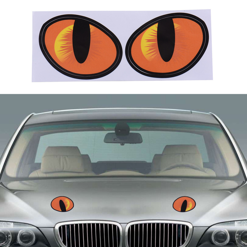 Car mirror sticker design - 2016 New Promotion 3d Funny Car Stickers Cute Cat Evil Eyes Car Vinyl Sticker Decal Window