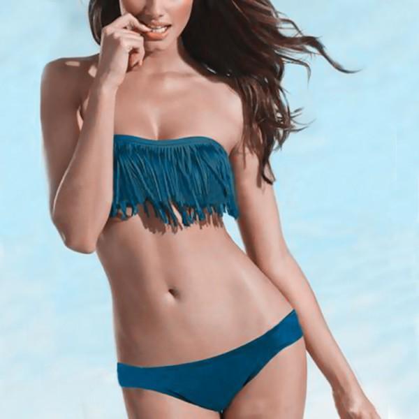 7 Color 2015 Fashion Brand Tassel Bra Woman Sexy Bikini Set PAD Swimsuits Sport Fringe Top Swimwear Beachwear Bikini Set()
