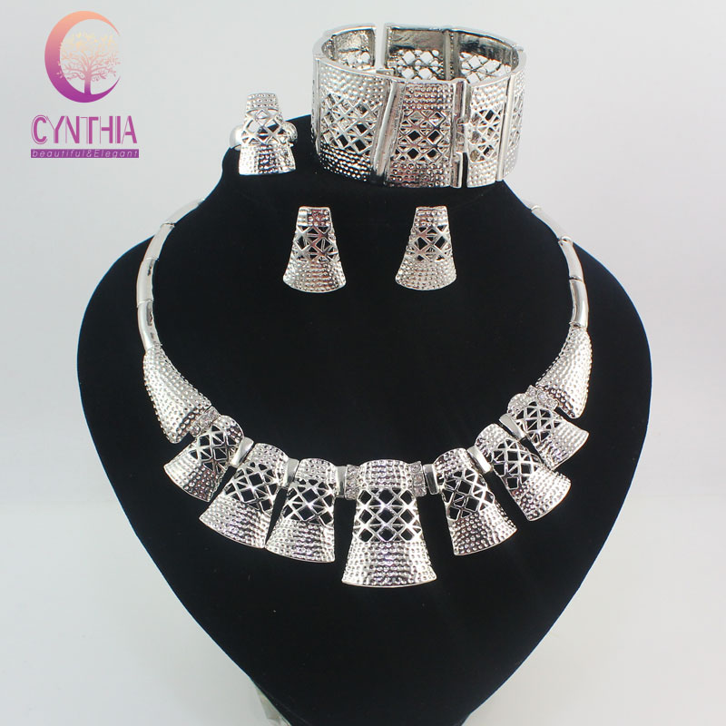 Fashion Dubai 18K White Gold Plated Crystal Jewelry Sets Trendy Nigerian Wedding African Beads Jewelry Sets Party Costume