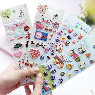 2sets/lot Creative Cute 3D Love OWL design Foam Sticker/DIY Note sticker/Decoration label Office & School Supplies Free shipping(China (Mainland))