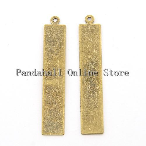 Metal Tags, Brass Blank Stamping Tag Pendants, Rectangle, Antique Bronze, 41x7x0.3mm, Hole: 1mm