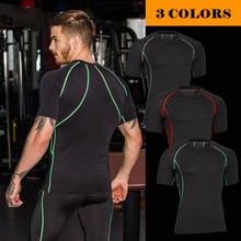 Buy New 2017 Base Layer Color lines T Shirt Fitness Tights Quick Dry Camo T Shirts Tops & Tees Crossfit Compression Shirt for $6.99 in AliExpress store