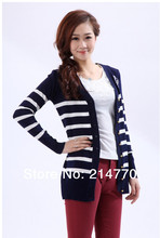 free size full cotton women slim mid long striped cardigan sweater specials $75 free shipping(China (Mainland))