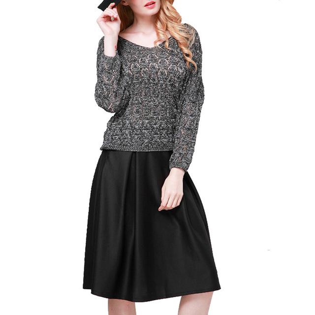 Женщины sheer трикотажные свободный пуловер V-образным Вырезом три четверти рукав ...
