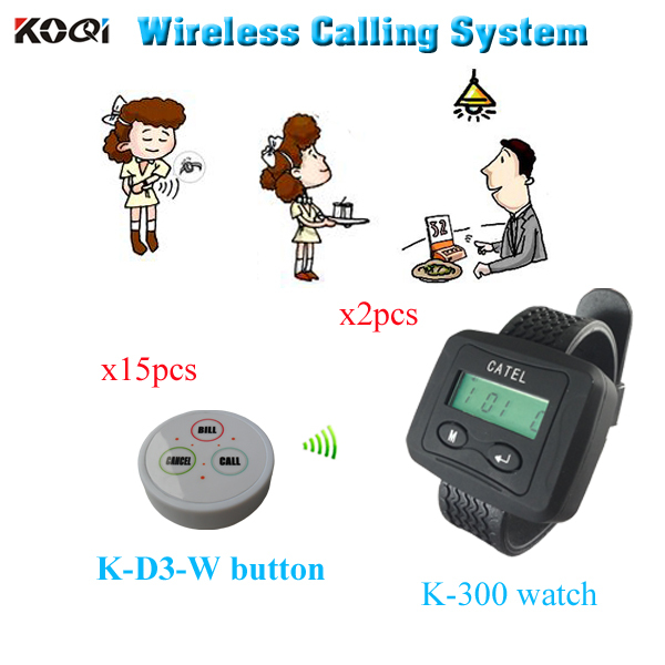 Wireless paging system for restaurant Hot sale Call Bell Transmitter Watch Buzzer ( 2 watch pager +15 table bell button)(China (Mainland))