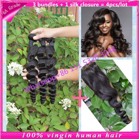 malaysian loose wave hair with silk closure malaysian hair bundles with silk closure 3 bundles with silk base closure 4Pcs/Lot<br><br>Aliexpress