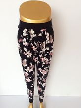 2016 New Floral Jogger Pant With Pocket Women Black Waistband Pleated American Hot Style High Quality