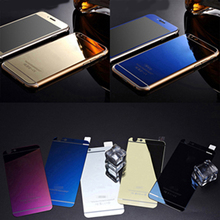 Front+Back Full Cover Electroplating Mirror Effect Color Tempered Glass Screen Protector Film Case For iPhone 5/5S