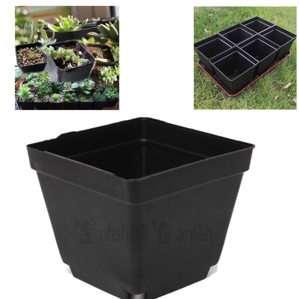 "3.5"" Inch Square Black Plastic Nursery Pots Seedlings Plants Pots Container Good Quality Planting Succulents(China (Mainland))"